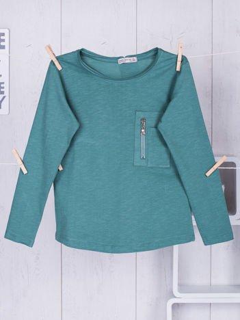 Zielona bluzka dziecięca z kieszonką na suwak