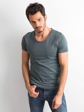 Zielona gładka koszulka męska