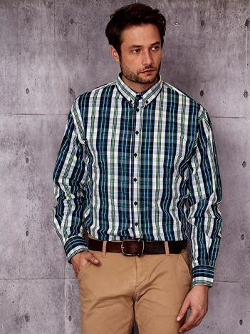 Zielona koszula męska w kolorową kratę PLUS SIZE