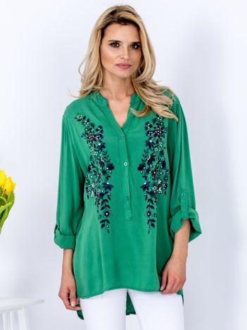 Zielona luźna koszula z kwiatowym printem