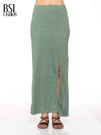 Zielona melanżowa spódnica maxi z rozcięciem