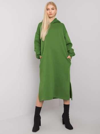 Zielona sukienka dresowa z kapturem Christel