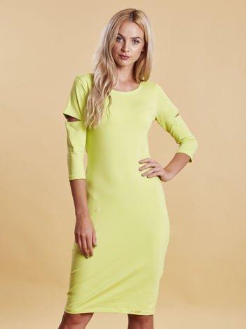 Zielona sukienka z wycięciami cut out