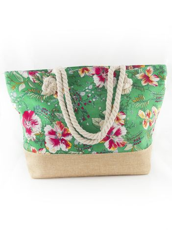 Zielona torba w kwiaty