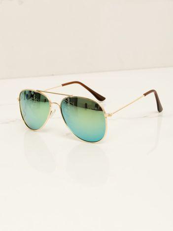 Zielone PILOTKI AVIATORY stylowe przeciwsłoneczne okulary dziecięce