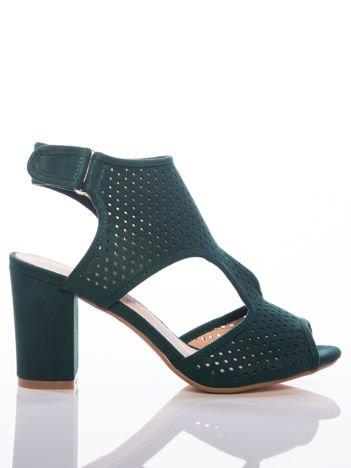 Zielone sandały Sabatina z ażurową cholewką, na grubym słupku