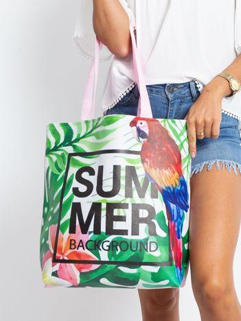 Zielono-różowa torba z egzotycznym nadrukiem