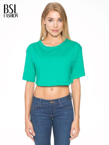 Zielony crop top o luźnym kroju