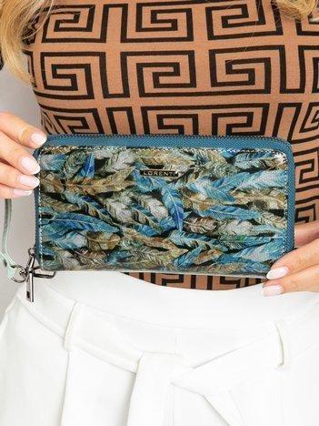 Zielony duży portfel skórzany na suwak