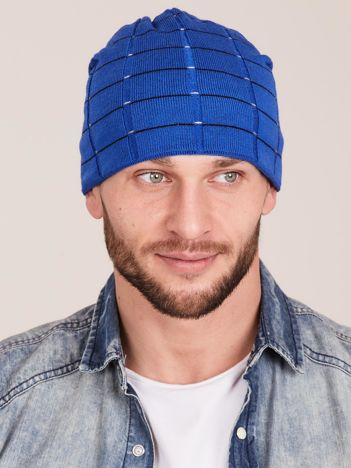 Zimowa męska czapka z dzianiny niebieska
