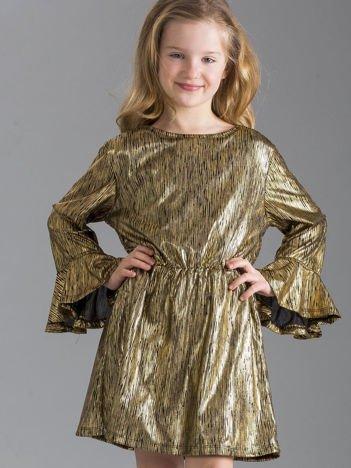 Złota sukienka dziewczęca w paski