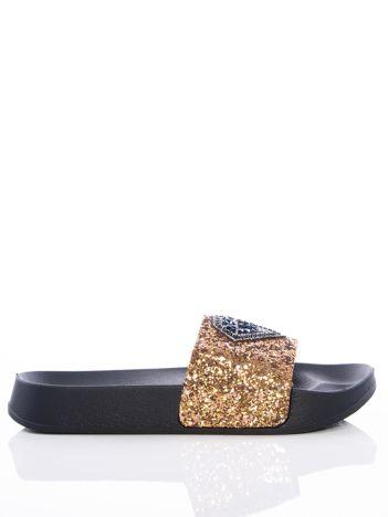 Złote brokatowe klapki z nadrukiem diamentów