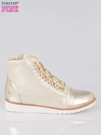 Złote metaliczne sneakersy z łańcuchami