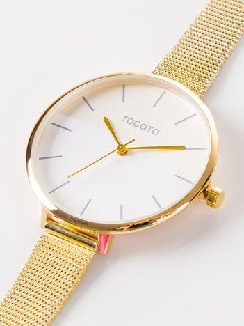 Złoty zegarek damski z dwukolorową tarczą na bransolecie MESH