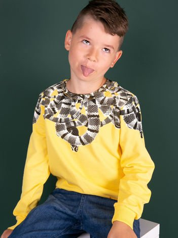 Żółta bawełniana bluza dziecięca z nadrukiem węży