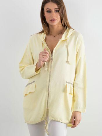 Żółta bluza z nadrukiem i kapturem