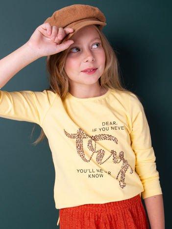 Żółta bluzka dla dziewczynki z nadrukiem