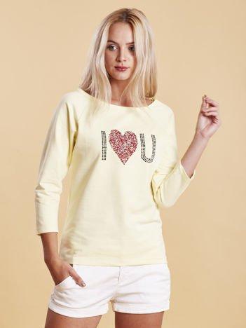 Żółta bluzka z aplikacją serca