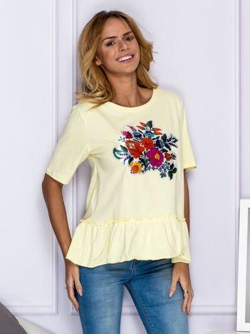 Żółta bluzka z kolorowymi kwiatami