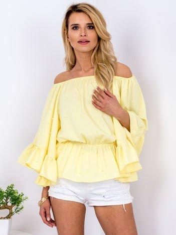 Żółta bluzka z szerokimi rękawami i perełkami