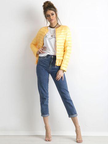 Żółta kurtka przejściowa z falbaną