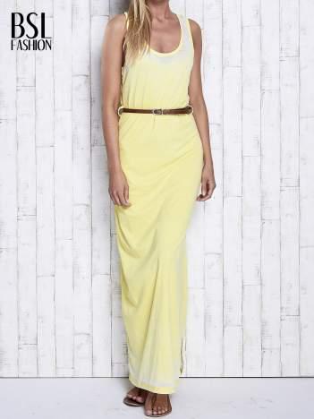 Żółta sukienka maxi acid wash