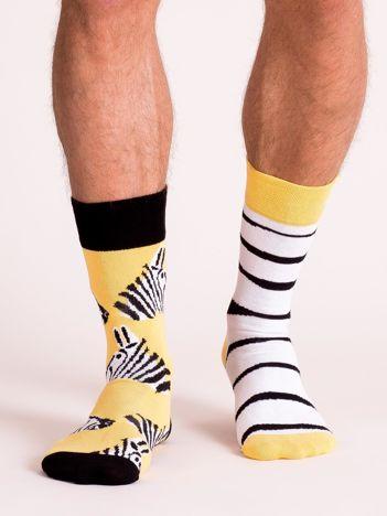 Żółto-czarne skarpety męskie nie do pary