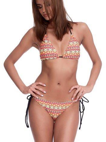 Żółto-różowy wzorzysty kostium kąpielowy bikini z wiązaniami