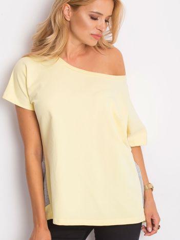 Żółto-szara bluzka oversize z falbanką