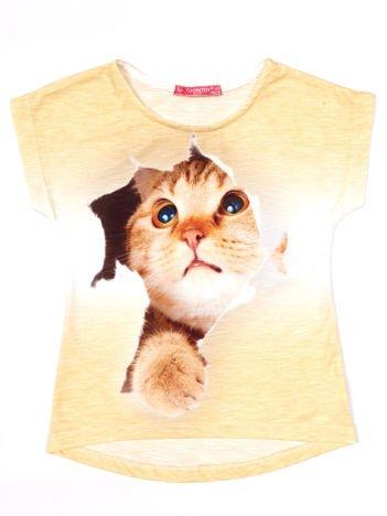 Żółty t-shirt dla dziewczynki z kotem