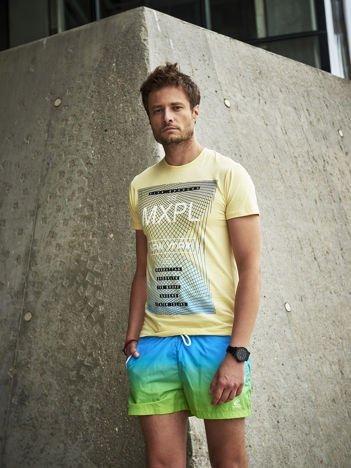 Żółty t-shirt męski z nadrukiem w miejskim stylu