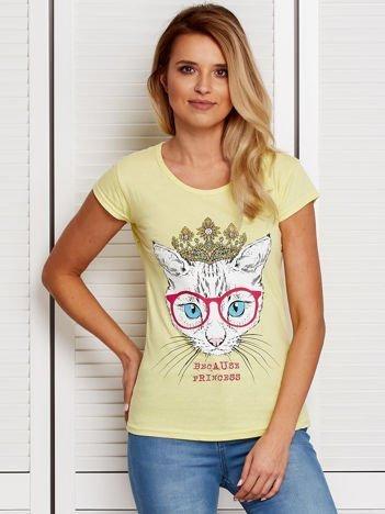 Żółty t-shirt z kotem