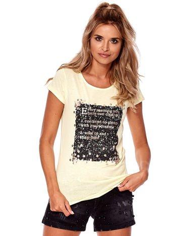 Żółty t-shirt z nadrukiem