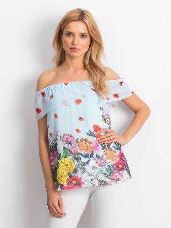 Zwiewna bluzka hiszpanka w kwiaty z falbaną niebieska
