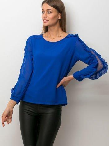 Zwiewna bluzka z ozdobną wstawką z koronki kobaltowa