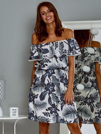 Zwiewna sukienka letnia  hiszpanka w tropikalny wzór biała