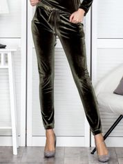 Aksamitne spodnie dresowe khaki