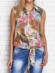 Asymetryczna koszula mgiełka z tropikalnym nadrukiem różowa