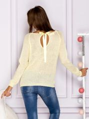 Ażurowy sweter z kokardą na plecach żółty