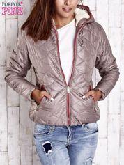 Beżowa pikowana kurtka z futrzanym ociepleniem