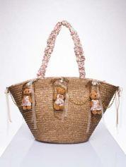 Beżowa torba koszyk plażowy w stylu romantic