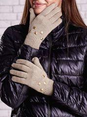 Beżowe rękawiczki z ćwiekami i ściągaczem