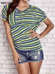 Beżowy t-shirt w kolorowe paski FUNK N SOUL