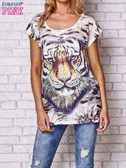 Beżowy t-shirt z nadrukiem tygrysa