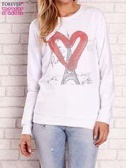 Biała bluza z motywem paryskim