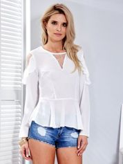 Biała bluzka z siateczkowymi wstawkami