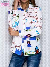 Biała koszula damska w kreskówkowe wzory i napisy