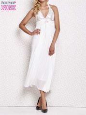 Biała plisowana sukienka maxi wiązana na plecach