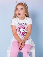 Biała tunika dla dziewczynki nadruk HELLO KITTY