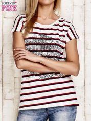 Biało-czerwony t-shirt w paski z napisem SCORPION BAY